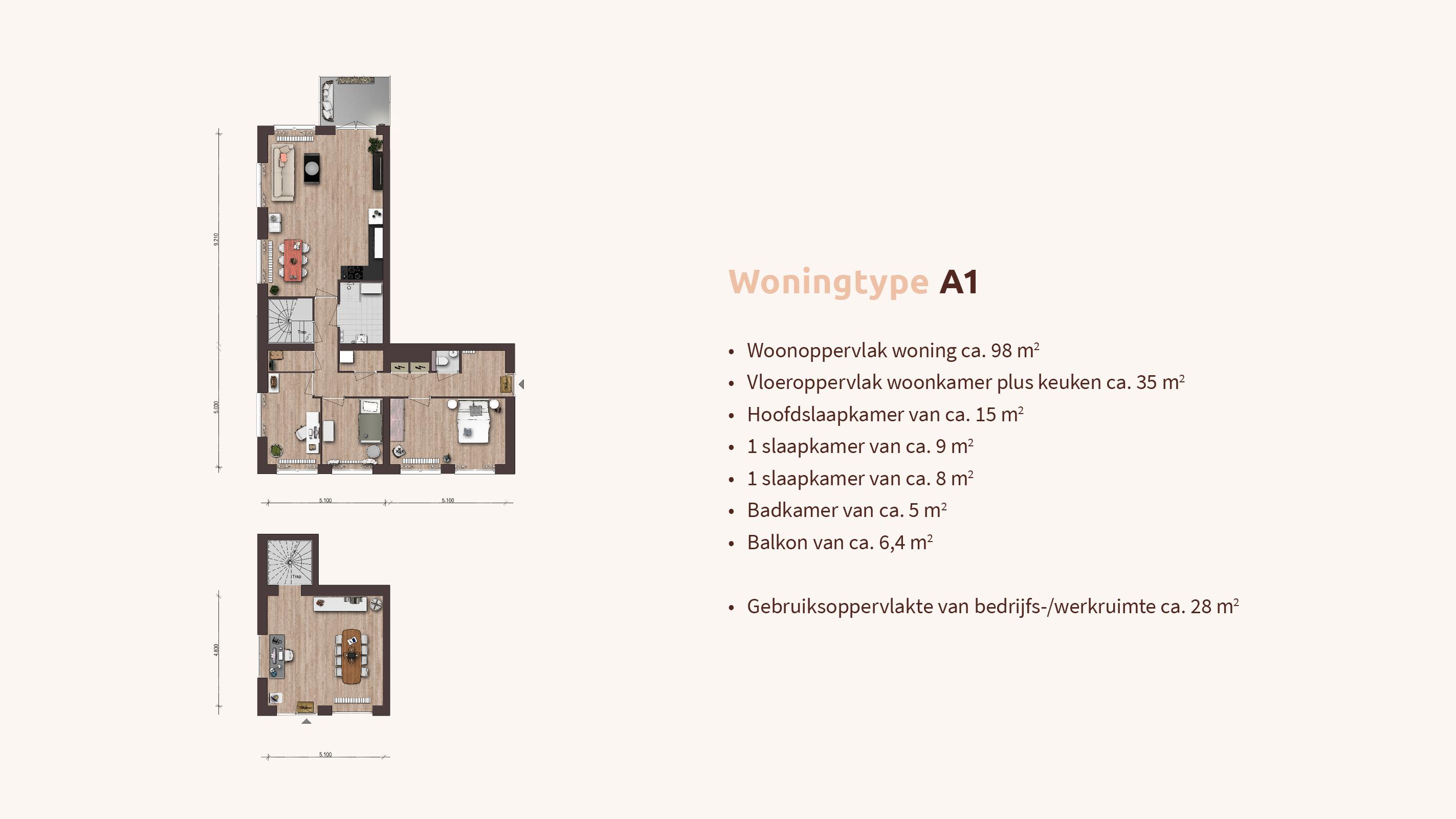 Woningtype - Woon-werk - Plattegrond A1 - Appartementen Leidsche Rijn - Picaz Utrecht
