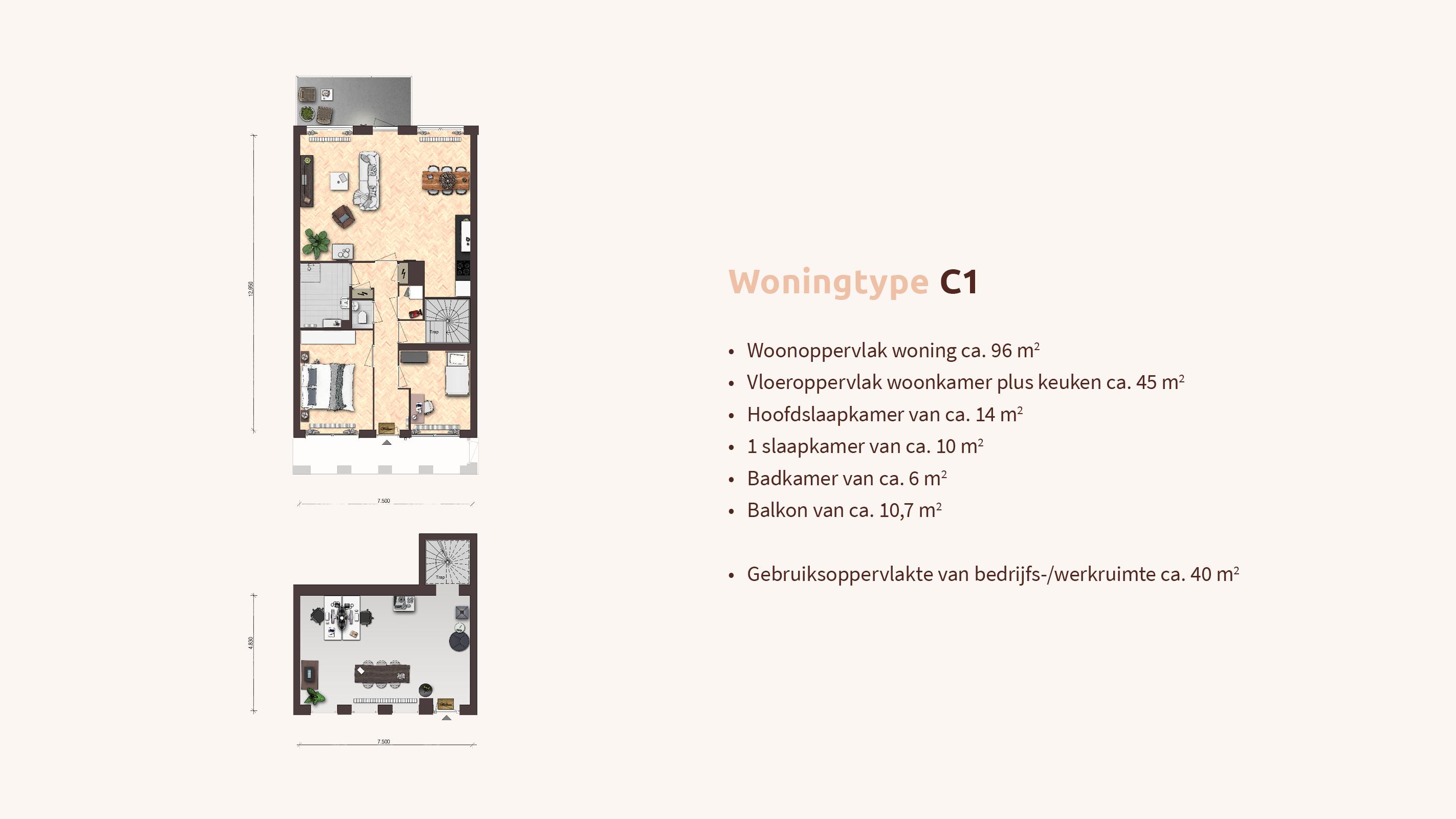 Woningtype - Woon-werk - Plattegrond C1 - Appartementen Leidsche Rijn - Picaz Utrecht