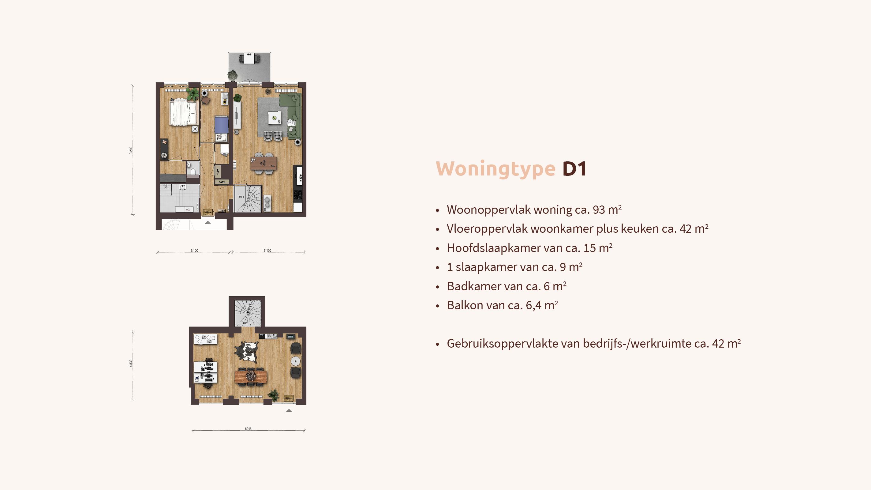 Woningtype - Woon-werk - Plattegrond D1 - Appartementen Leidsche Rijn - Picaz Utrecht