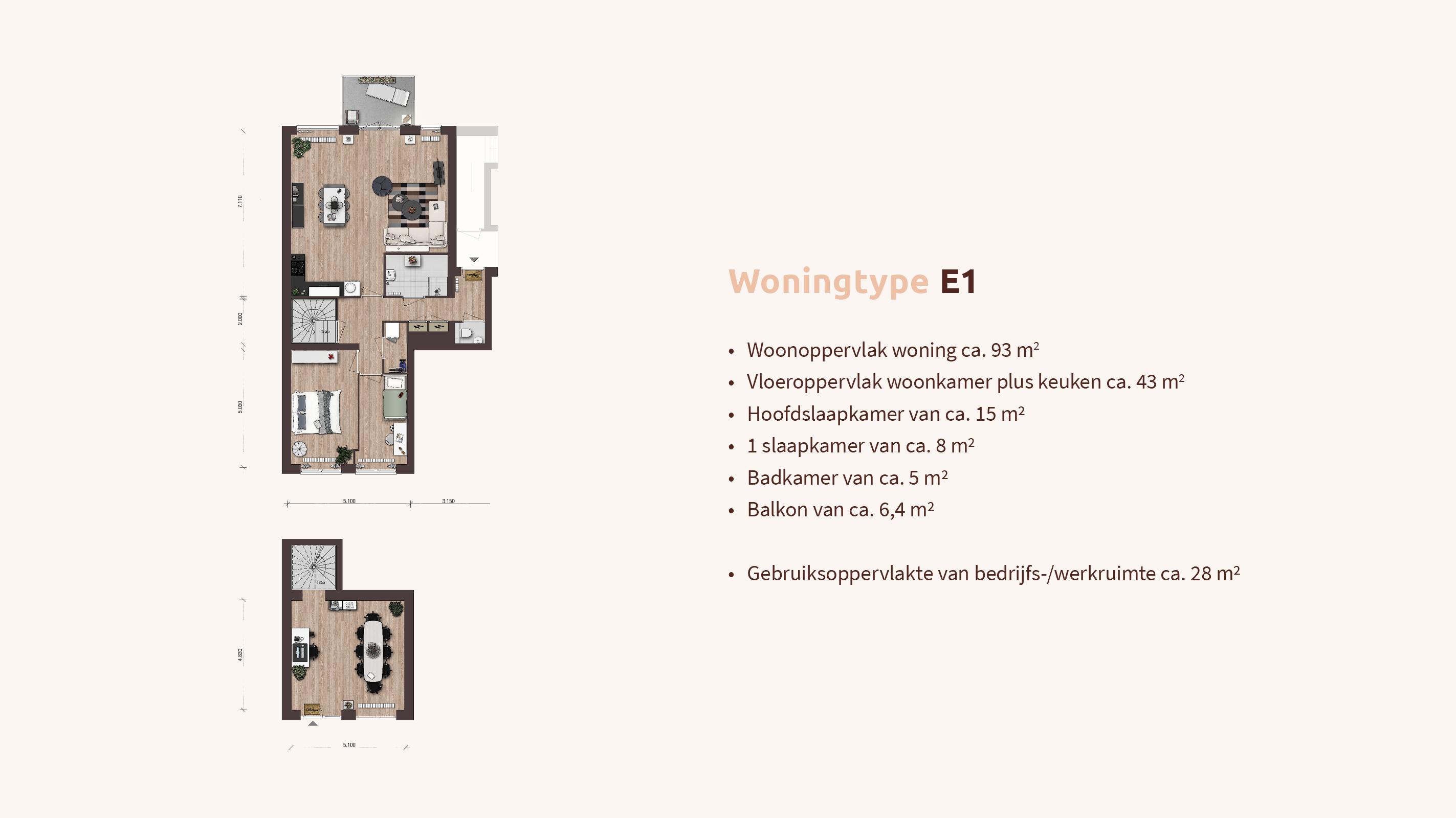 Woningtype - Woon-werk - Plattegrond E1 - Appartementen Leidsche Rijn - Picaz Utrecht
